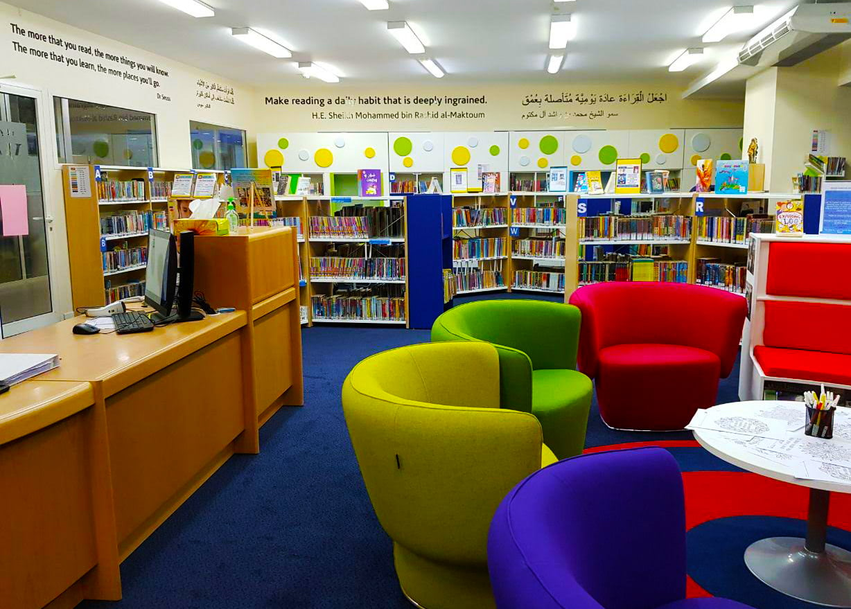 Photograph highlighting the importance placed on reading throughout GEMS Wellington International School in Dubai