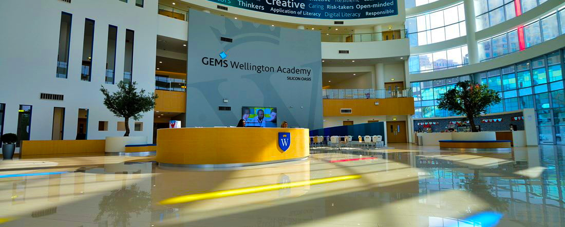 An image showing the entrance to the Secondary School at GEMS Wellington Academy Silicon Oasis
