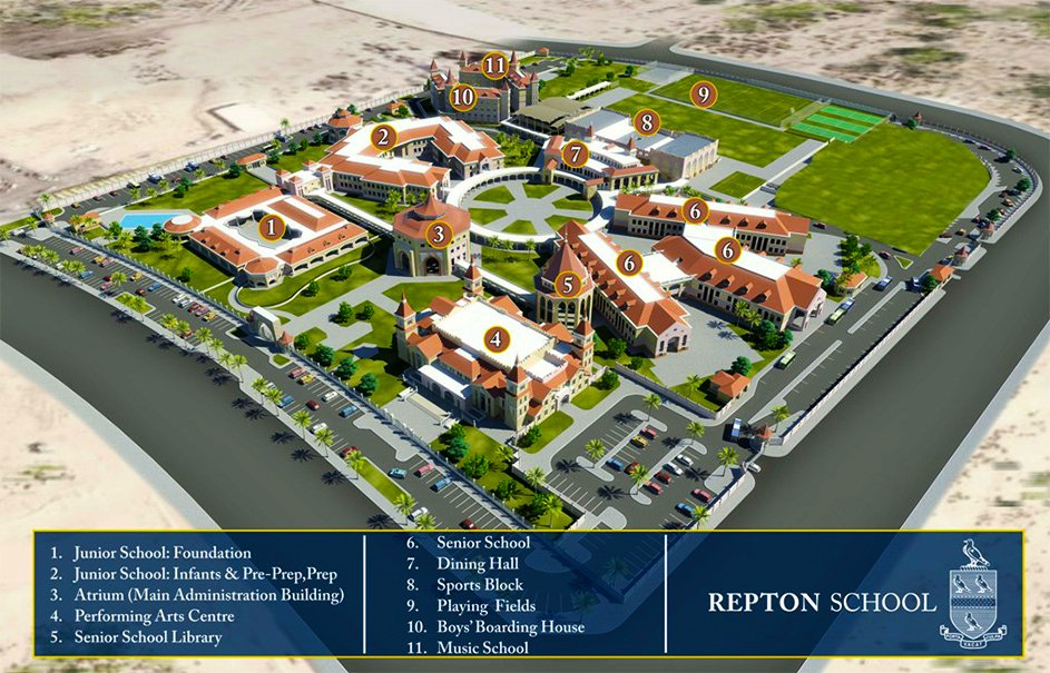 A map of the Repton School Dubai campus