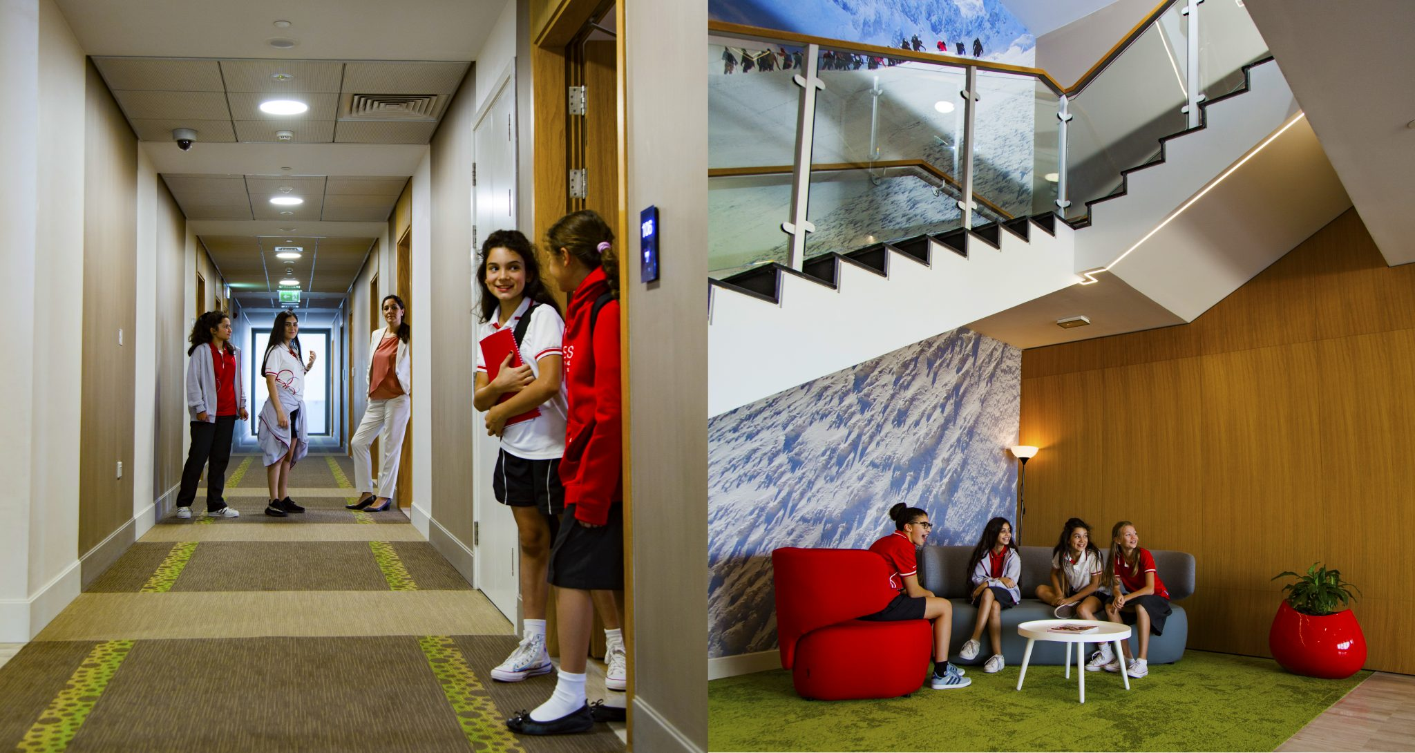 Photographs of the new Girl Boarding Facilities at the Swiss Scientific International School in Dubai opening September 2018