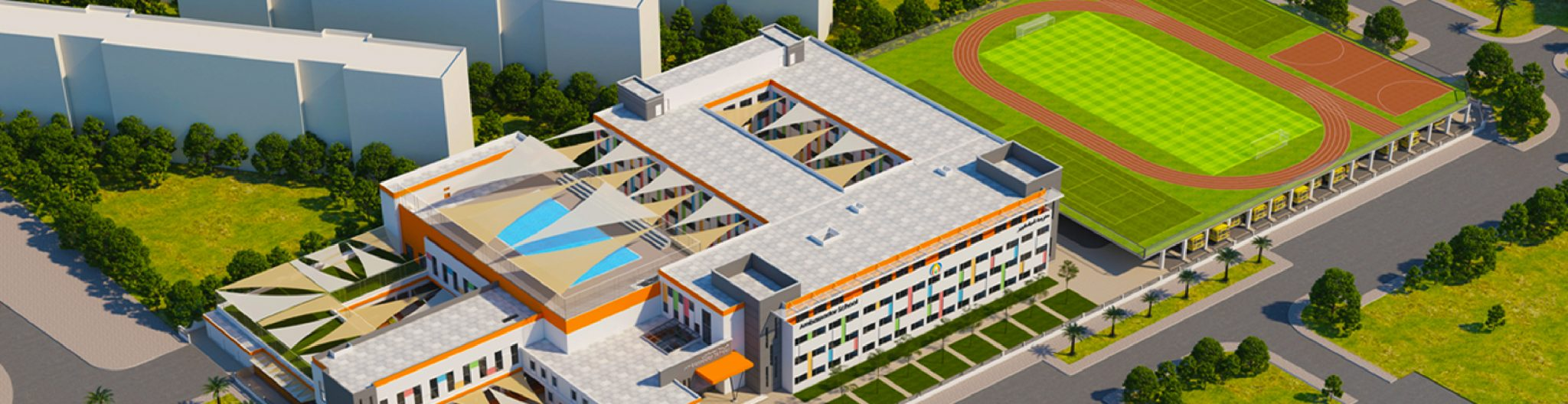 A render of the new Ambassador School Dubai campus opening in September 2018 in Al Khail Gate