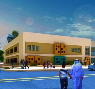 Render of Th Alpha School in Dubai highlighting its main buildings