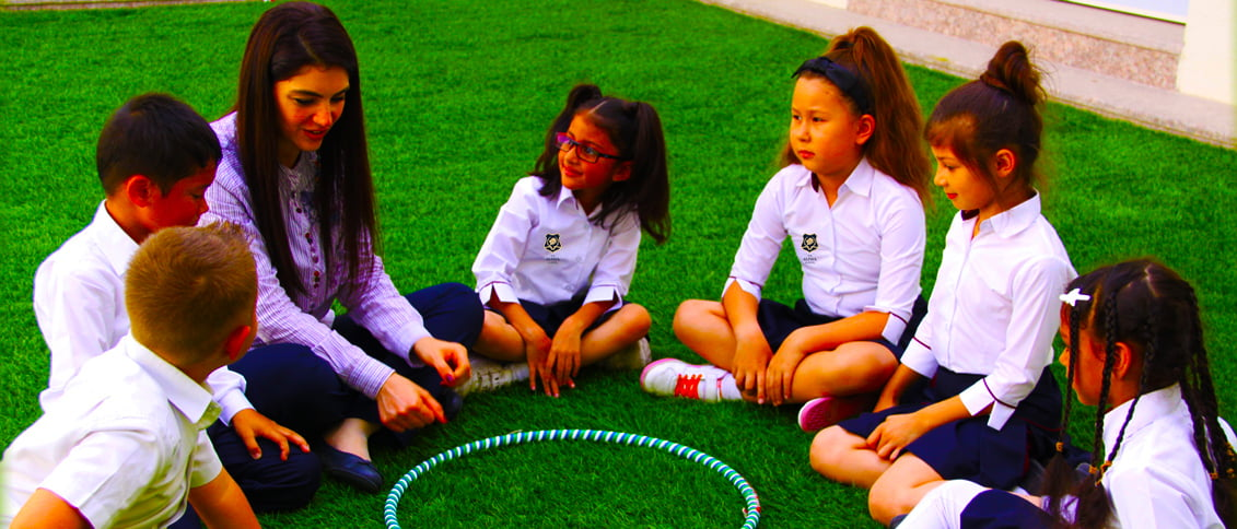 Children learning outside at The Alpha School in Dubai