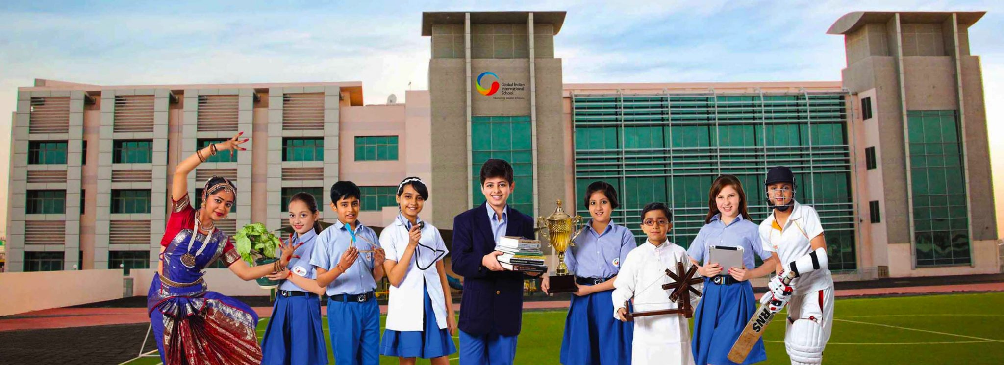 A rendered photograph of children outside the new Global Indian International School Dubai