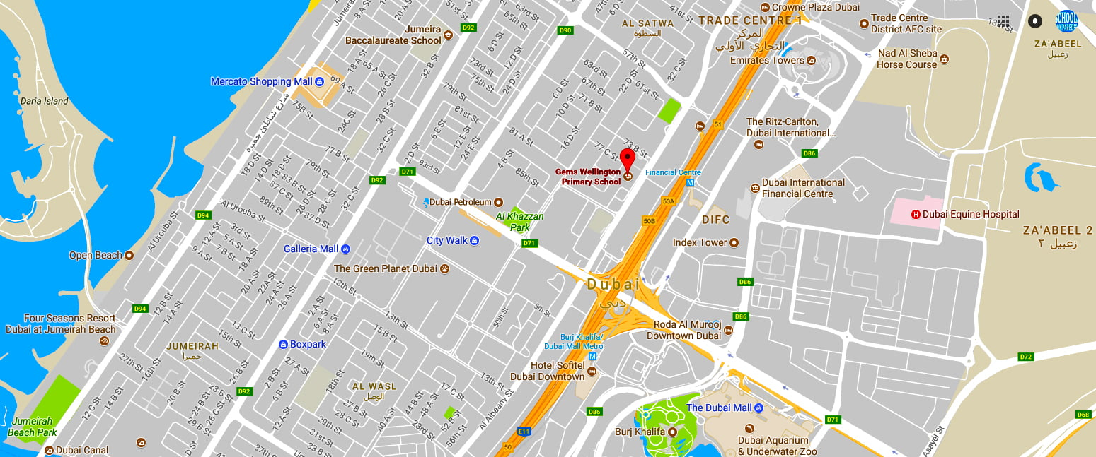 Map showing the location of GEMS Wellington Primary School in Dubai
