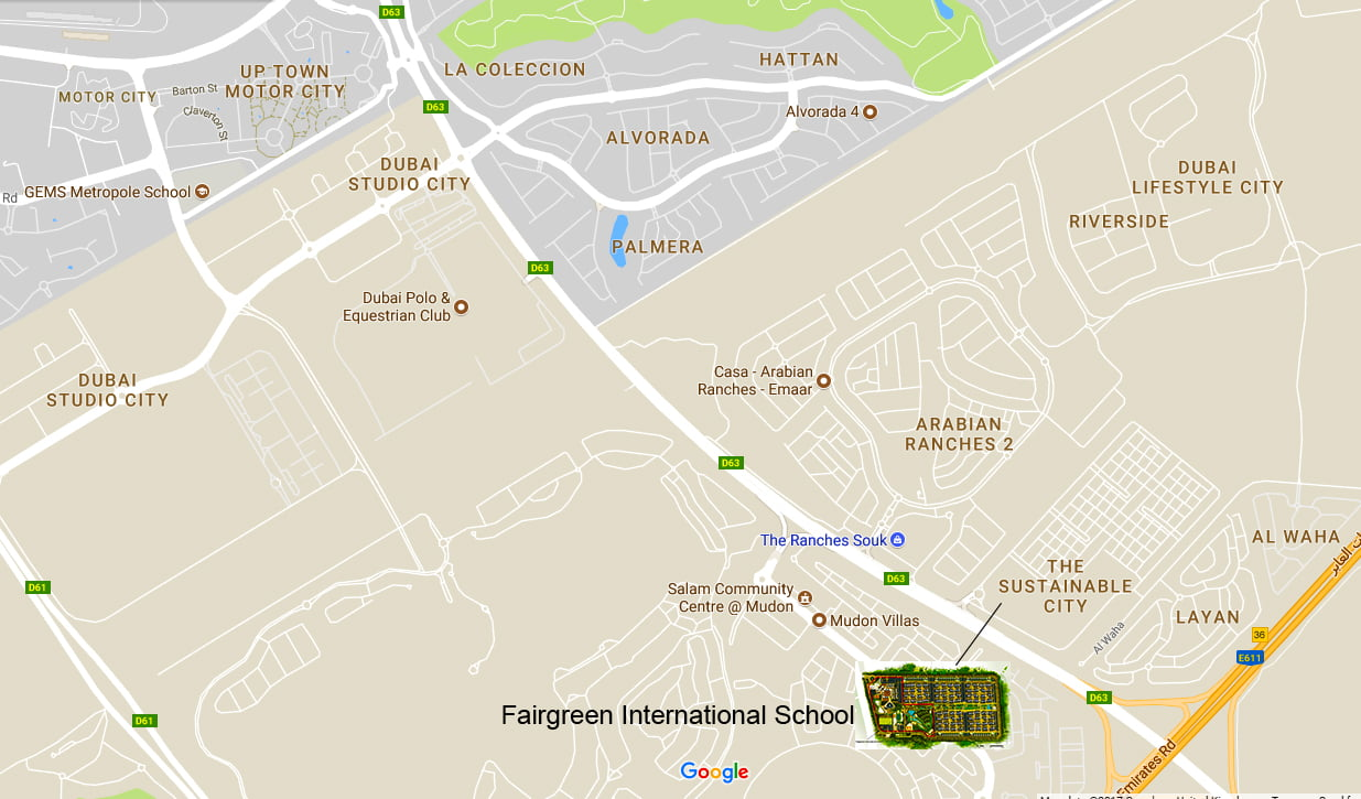 Map showing the location of Fairgreen International School in The Sustainable City Dubai