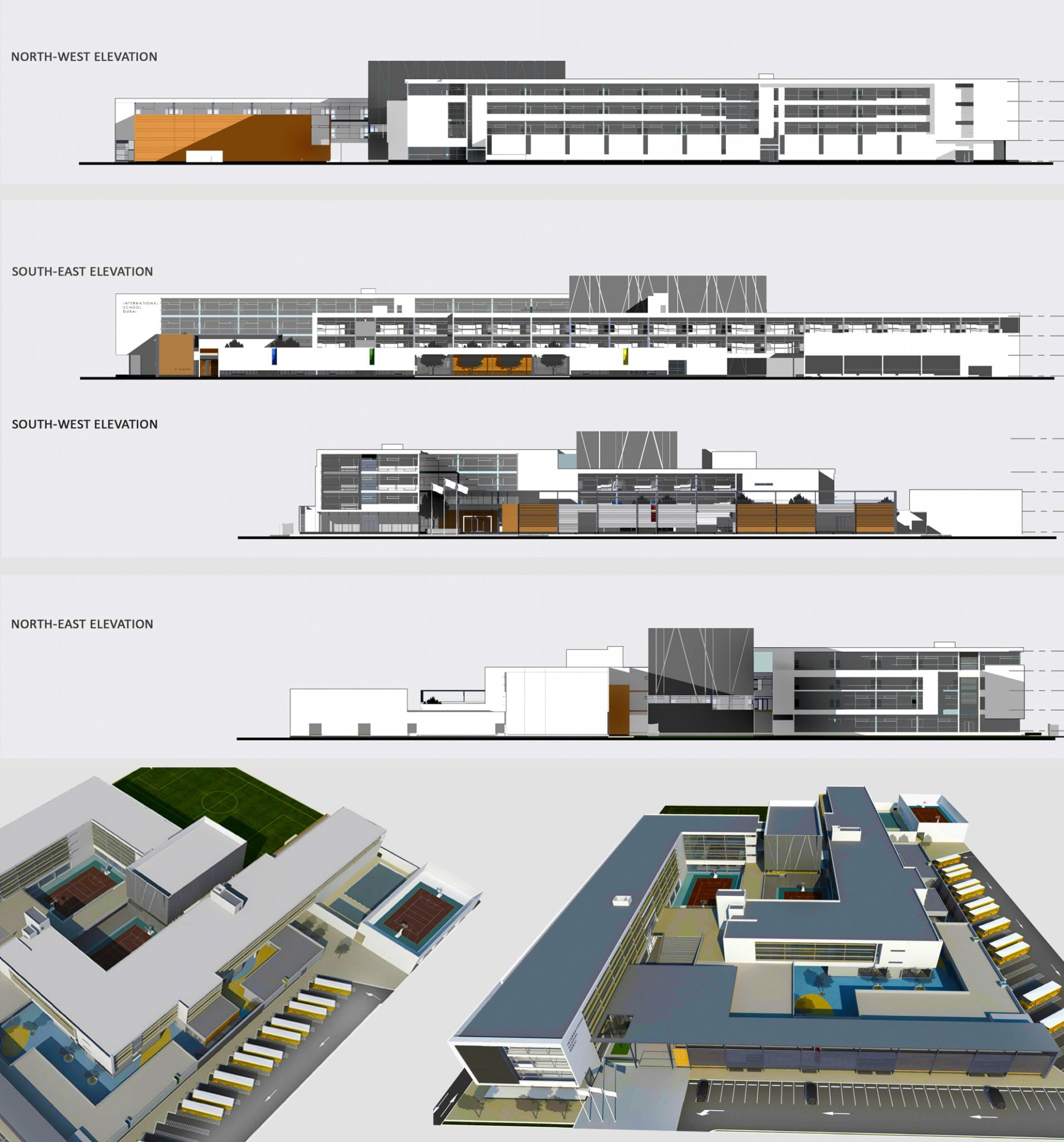 Plans and elevations of the GEMS International School Al Khail in Dubai