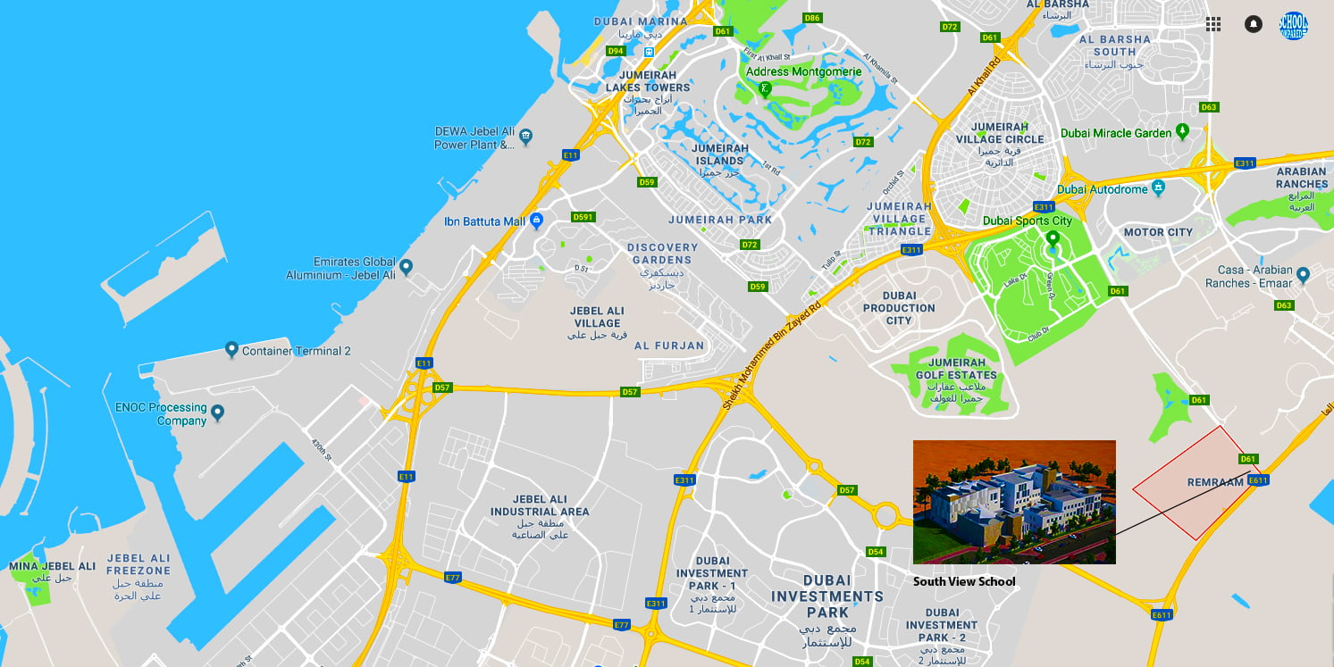 Map showing the location of the new South View School in Dubailand which will offer an all-through British curriculum to students when it pens across all phases following its launch in September 2018
