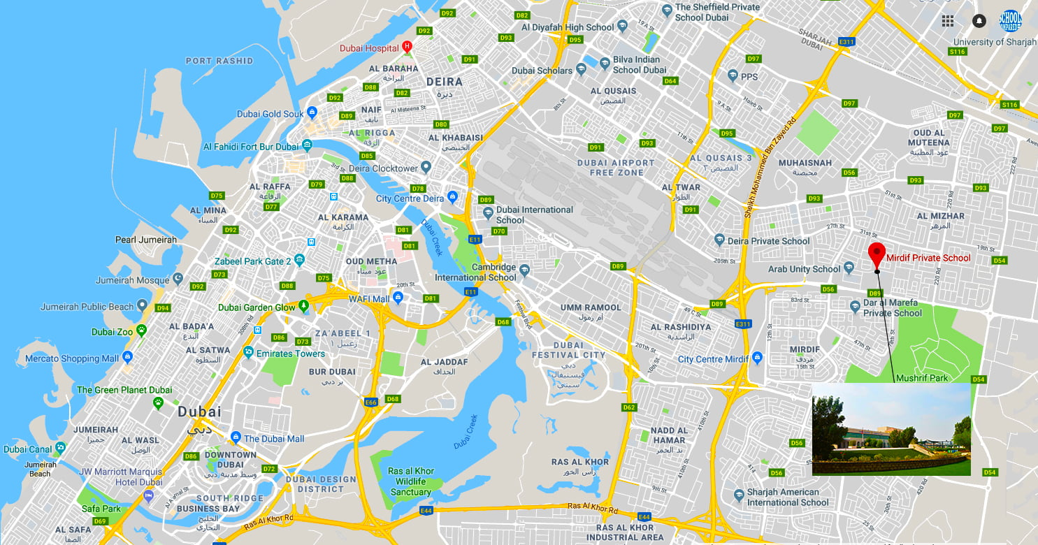 Map showing location of and directions to Mirdif Private School in Dubai