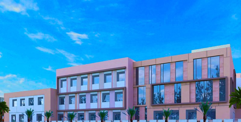 Render photograph of the frontage of the new British curriculum all-through South View School opening in Dubailand in September 2018