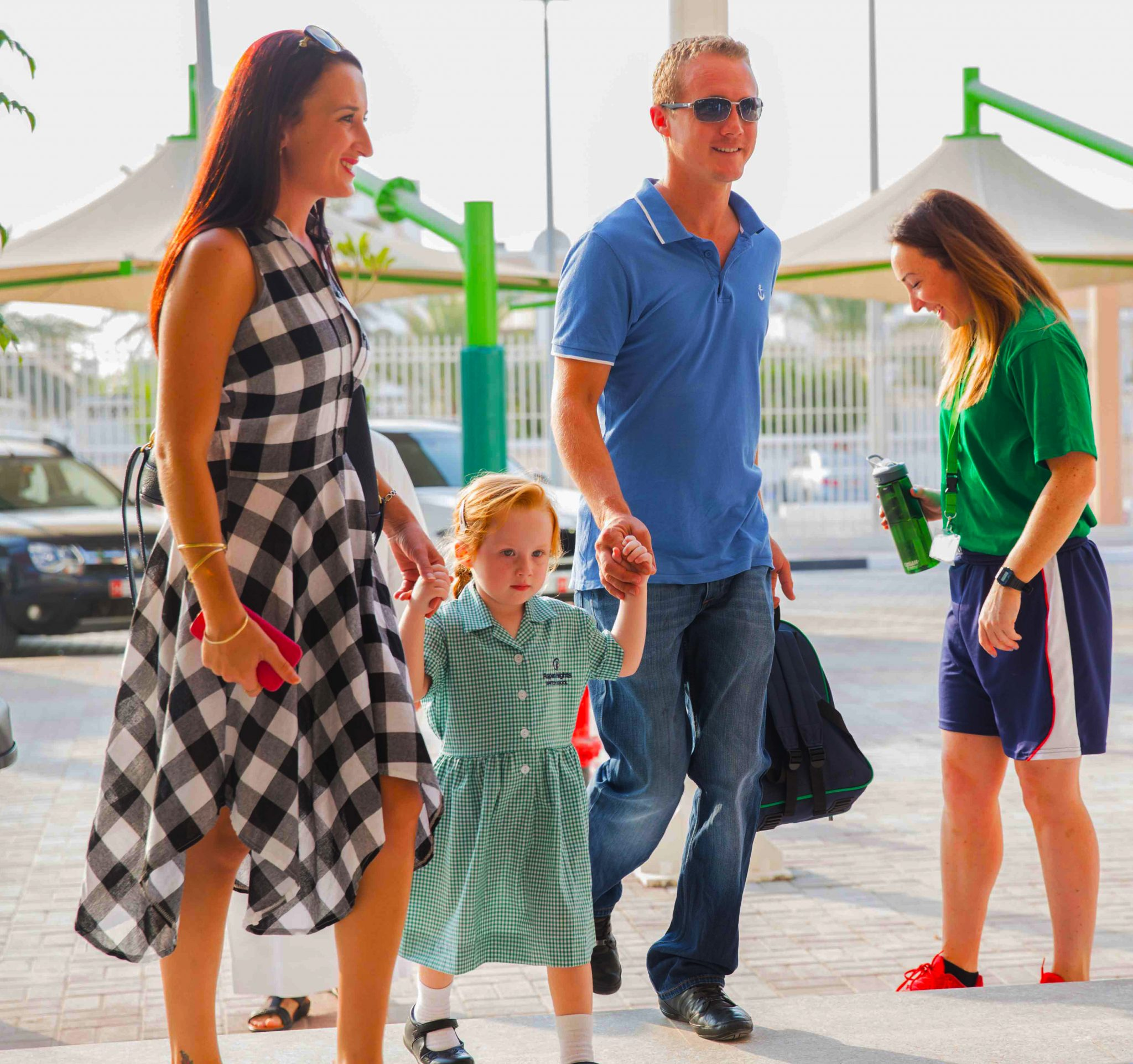 Parents dropping offf their child at Aspen Heights British School in Abu Dhabi