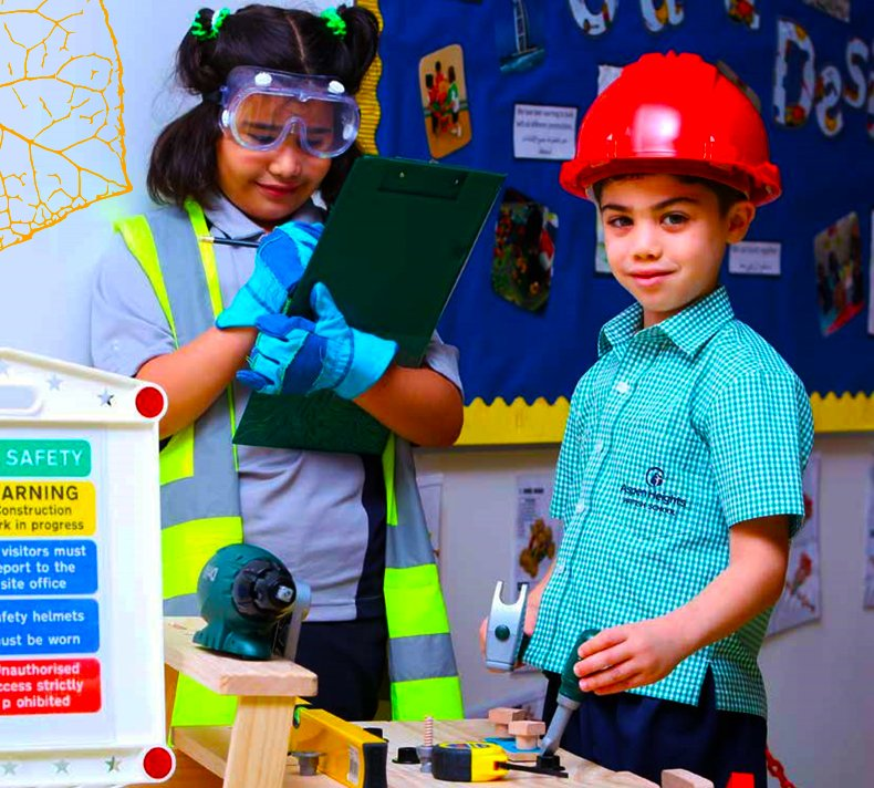 Photograph of younger children engaged in STEM learning at Aspen Heights British School in Abu Dhabi